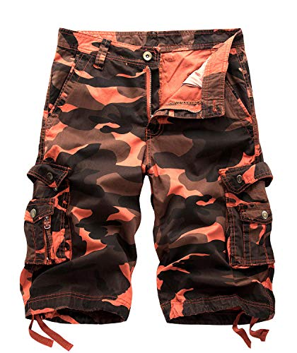 TOSKIP Men's Camouflage Cargo Shorts Camo Outdoor Work Short Orange Red 40
