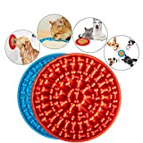 Dog Lick Mat, Suswillhit 2PCs Pet Slow Feeder Distraction Device Dog Lick Pad with Suction Cup for Pet Bathing, Grooming, Training