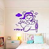 Tianpengyuanshuai Sticker Mural Avion Style Dessin animé Maison amovible45x39cm