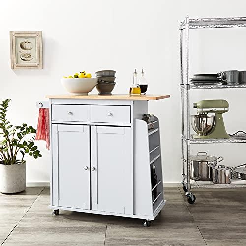 ACME Furniture Tullarick Kitchen Cart, Natural/Gray