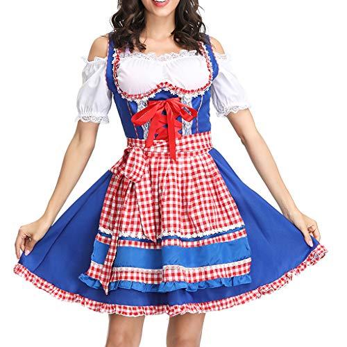 NEEKY FaschingskostüMe Damen Damen Bier Festival Kleid Sexy Dessous Kleid Maid's Kleidung Cosplay Kostüme FaschingskostüMe(M,Blau)