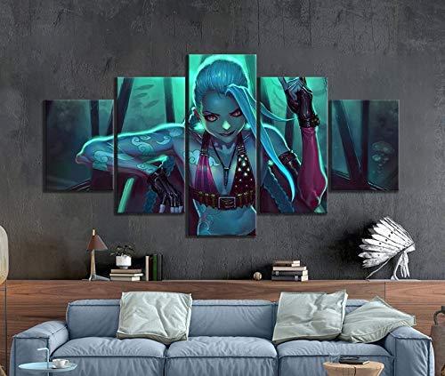 5 Stück dekorative Malerei Poster New Fashion Office Home Wandbild Poster Lol Jinx Spiel Kunst Malerei Großhandel(Frameless size3)