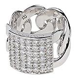 Pompöös Harald Glöckler Ring für Frauen Silber 925 rhodiniert Zirkonia weiß Flachpanzer Gr. 56