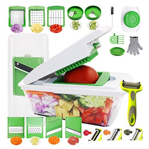 RTMAXCO Vegetable Chopper Mandoline Slicer Dicer Peeler Onion Chopper, Food Chopper Cutter Cheese Grater,Vegetables Spiralizer, All in 1 Adjustable Vegetables Slicer Veggie slicer, Salad Chopper