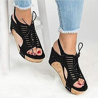 أحذية ذات كعب عالٍ - صنادل ويدجز للنساء كعوب أحذية صيفية صنادل صنادل نسائية صنادل صنادل صنادل نسائية (سوداء 40)