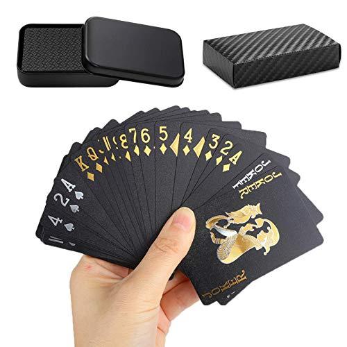 トランプ 54枚 プラスチック製 マジックトランプ ブラック ゴールド 防水 金箔 トランプ パーティー 集会 ゲーム 収納ケース付き (1個組)