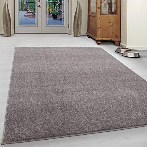 Carpet 1001 Wohnzimmer Teppich Kurzflor Modern Einfarbig Meliert Uni günstig Versch. Farben - Beige, 160x230 cm