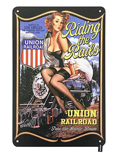 HOSNYE Riding The Rails Pin Up Girl Tin Sign Cute Woman with Train Union Railroad Vintage Metal Tin Signs for Men Women Wall Art Decor for Home Bars Clubs Cafes 8x12 Inch