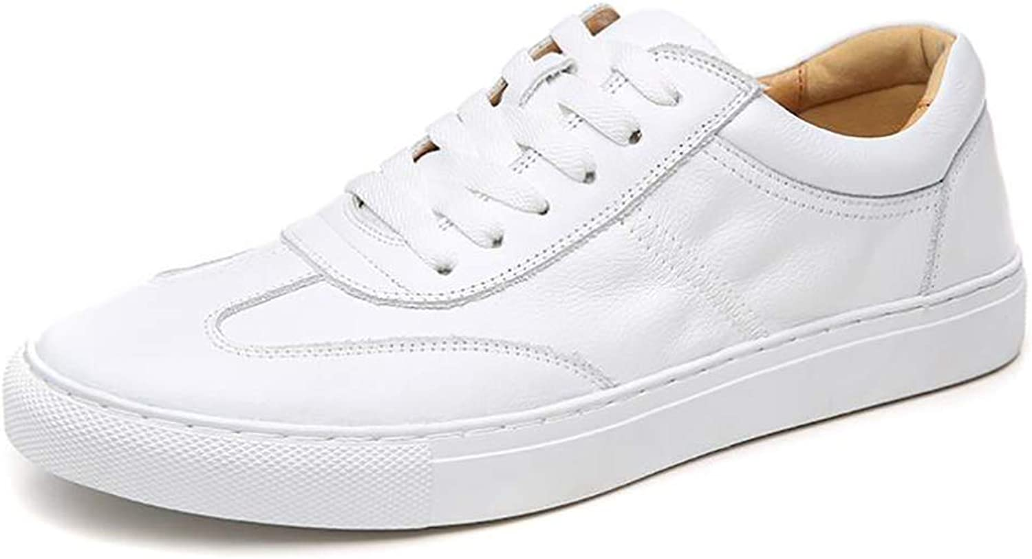 Men's shoes 2018 New Leather Lace-up shoes Men Casual Flat shoes Comfortable Breathable Small White shoes (color   A, Size   42)