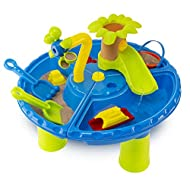 abeec Sand and Water Table - Sand and Water Pit with Accessories: Water Wheel, Sand Shapes, Plastic ...