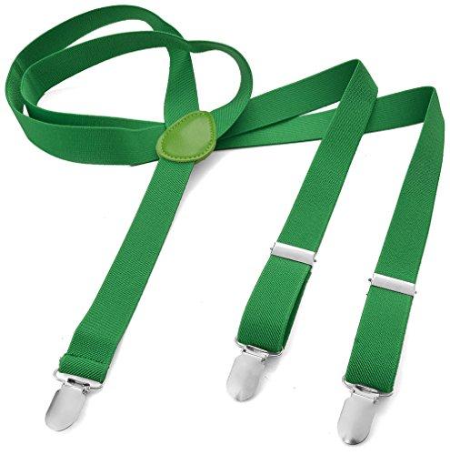 Bretelle lunghe da uomo e donna, a forma di Y, con 3 clip, elastiche, in tinta unita e multicolore con diversi motivi verde verde erba xxl