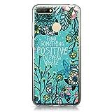 CASEiLIKE® Coque Huawei Y6 2018, Blooming Fleurs Turquoise 2249, TPU Silicone Soft Housse Etui...