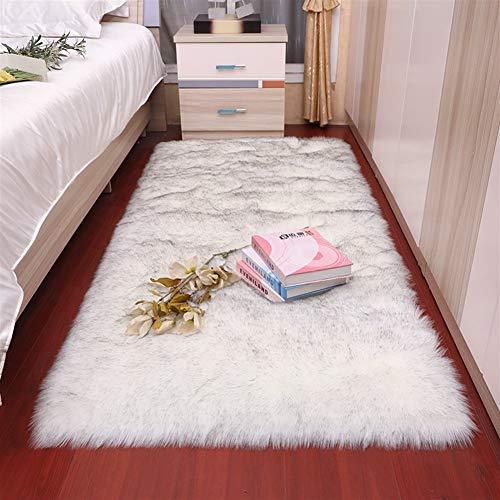 Jnszs Alfombra de felpa suave para sala de estar, dormitorio, alfombra de lana de imitación de pelo largo, cojín para ventana, cojín blanco y rojo para sala de estar (color: FS1 9, tamaño: 40 x 60 cm)