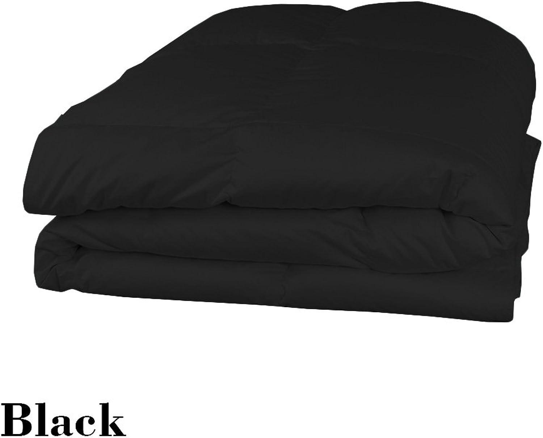 Dreamz étui Parure de lit Ultra Doux 550fils 100% coton 1housse de couette couette (200g m2 en fibre) Euro King, noir solide en coton égypcravaten 550tc Doudou