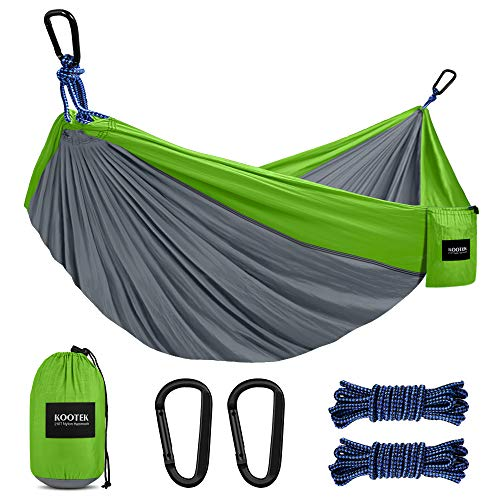 Kootek Camping Hammock Double & Single Portable Hammocks with 2 Hanging Ropes, Lightweight Nylon...