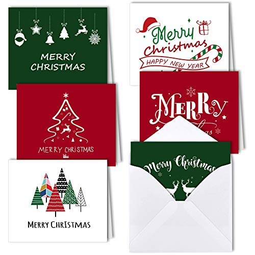 MIAHART 6 Styles Merry Christmas Greeting Cards Bulk Christmas Cards with Envelopes 30 Pack Blank Christmas Cards Collection for Winter Holiday Xmas Suppily