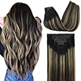 GOO GOO 22 Inch PU Clip in Hair Extensions Human Hair Balayage Natural Black to Light Blonde 150g 7pcs Seamless Hair Extensions Clip in Thick Straight Remy Hair Extensions for Women