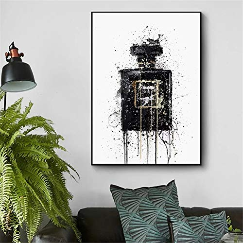 DIY 5D diamante pintura kit completo, Perfume negro abstracto Diamond Painting adult/niño dot cristal Rhinestone punto de cruz bordado art decor de la pared del hogar Round Drill,40x60cm(16x24in)