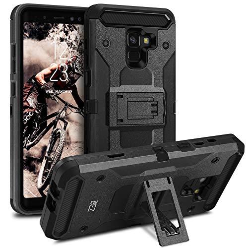 BEZ Handyhülle für Samsung Galaxy A8 2018 Hülle, Handy Schutzhülle Outdoor Kompatibel für Samsung Galaxy A8 2018 [Heavy Duty Serie] Dual Layer Armor Case Stoßfestes Shockproof Robuste, Schwarz