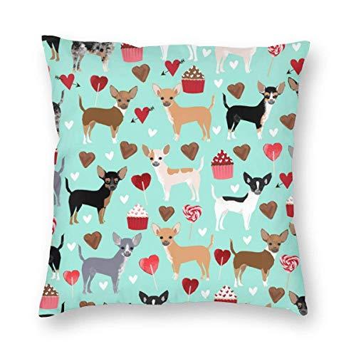 Funda de Almohada Decorativa de Pastel de Chihuahua, Funda de cojín de Postre de Perro de Dibujos Animados, Funda de Almohada Cuadrada de 18 'x 18' para sofá Cama de Coche