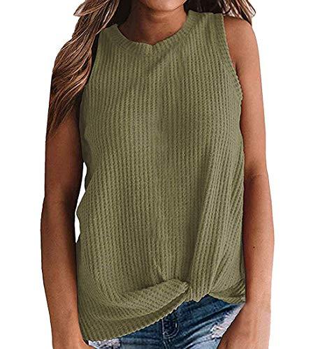 Durio - Camiseta de tirantes para mujer, sexy, de verano, sin mangas, cuello en V Verde militar. 42