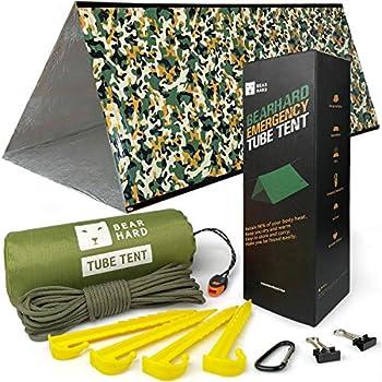 Bearhard Kit de survie composé d?une couverture imperméable, ultra légère et thermique, et d?une paracorde pour vous le bivouac, parfait pour le camping, la randonnée