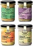 Pack Salsa Alioli y Patés - Ecológicos - Sin Huevo - Sin Gluten - Sin Transgénicos - Sin Azúcares Añadidos - Veganos - Aptos para dietas Paleo y Keto - 180 g (Pack de 4)