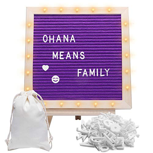 Felt Letter Board with Stand, Built-in LED Lights (10 x 10) - Menu Board, Wood Frame, 340 Letters for Custom Sign Messages, Menus, Announcement, Weddings, Party Planning (Purple)