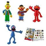 Comansi-Bullyland Lote 4 Figuras Barrio Sésamo - Epi - Blas - Coco - Elmo + Regalo
