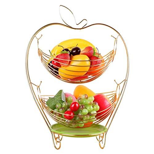 ZTMN Plato de Frutas, Canasta de Frutas Plato de merienda Canasta de Metal de Frutas y Verduras de 2 Capas Cocina Almacenamiento Almacenamiento Soporte de exhibición Arte Moderno Decoración Oro