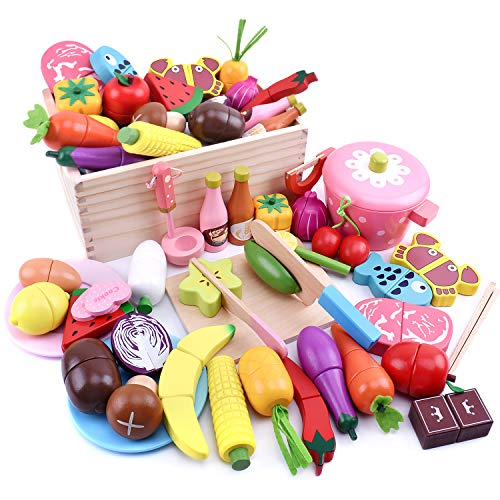 Ansoro Wooden Play Set, Magnets, Kitchen Toys, Food Sanitation Law Inspected Set of 37, 100% Natural Materials