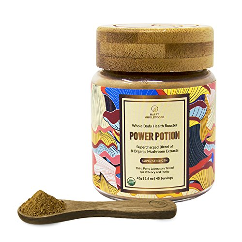 Power Potion High Potency Mushroom Powder Blend - Mushroom Extract Supplement - 8 Medicinal Mushrooms - Cordyceps, Reishi, Lions Mane, Chaga, Turkey Tail, Shiitake - USDA Certified Organic,1.6oz (45