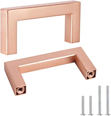 Probrico 10 Pack 2-1/2 Inch Cabinet Handles, Rose Gold Square Drawer Pulls, Bathroom Drawer Knobs Stainless Steel Kitchen Hardware Cabinet Pulls