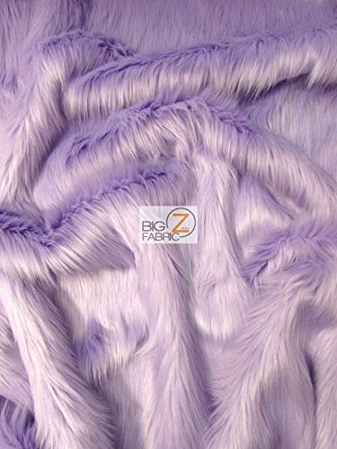 Faux Fake Fur Solid Shaggy Long Pile Fabric Sold by The Yard DIY Coats Costumes Scarfs Rugs Accessories Fashion (Lavender)