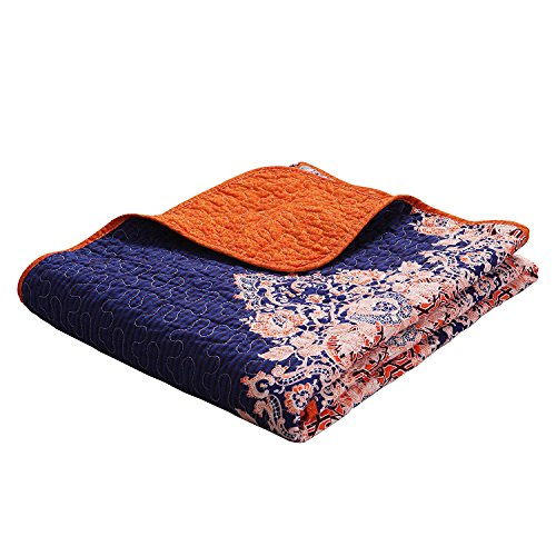 Exclusivo Mezcla Luxury Reversible 100% Cotton Rich Printed Boho Stripe Quilted Throw Blanket 60' x 50' Machine Washable and Dryable