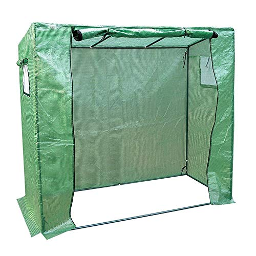 Portable Walk-in Plant Greenhouse Cover, Window Opening And Roll-up Zipper Door, Tomato and Succulent Plant Insulation Shed, 200×77×169cm, Green PE (Size : 200×77×169cm)