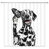 Duschvorhang Dalmatiner H& lustig Haustier Action weiß Badezimmer Dekor Zubehör wasserdicht hängende Gardinen 178 x 178 cm Polyesterstoff