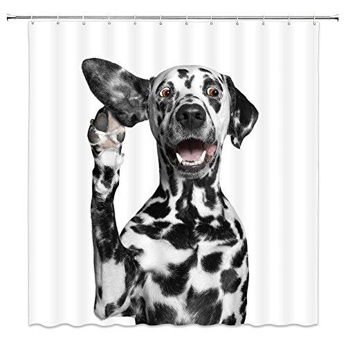 Duschvorhang Dalmatiner Hund lustig Haustier Action weiß Badezimmer Dekor Zubehör wasserdicht hängende Vorhänge 178 x 178 cm Polyesterstoff