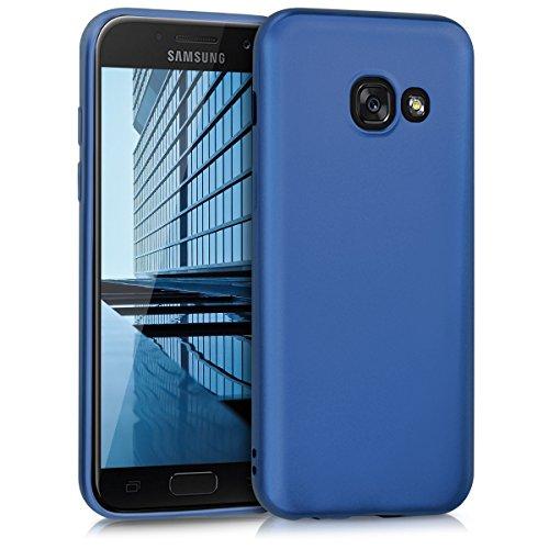 kwmobile Hülle kompatibel mit Samsung Galaxy A3 (2017) - Hülle Silikon metallisch schimmernd - Handyhülle Metallic Blau