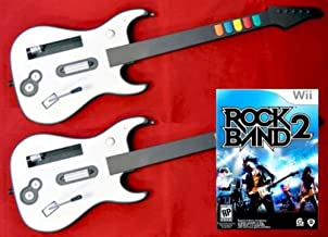 Nintendo Wii Rock Band 2 Video Game + 2 WIRELESS GUITARS Double Controller Bundle Set Kit