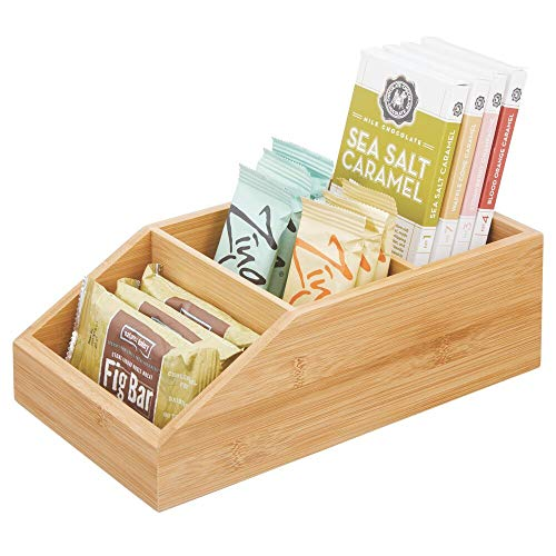 mDesign Bamboo Wood Food Storage Bin with Divided 3 Compartments and Sloped Front for Kitchen Cabinet, Pantry, Shelf to Organize Seasoning Packets, Powder Mixes, Spices, Snacks - Natural