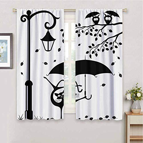 Cat Decor Blackout Curtains for Bedroom, Curtains 84 inch Length Funny Kitty with Umbrella Dancing Under Street Lantern in Town Urban Humor Print Easy to Install Black White W84 x L84 Inch