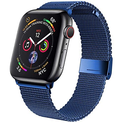 baklon Compatible con Apple Watch Correa 44mm 42mm, Pulsera de Repuesto de Acero Inoxidable Hebilla de Metal para iWatch Series 6 5 4 3 2 1 SE (42mm/44mm, Azul)