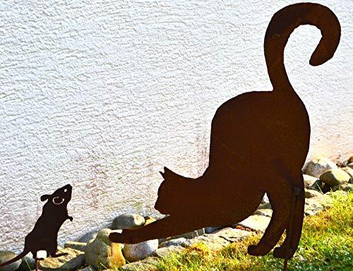 Maison en France Gartenstecker Katze aus Metall + Edelrost - Qualitativ hochwertige Gartendeko Rost - Katze auf Stab zum Einstecken in Erde,frostsicher