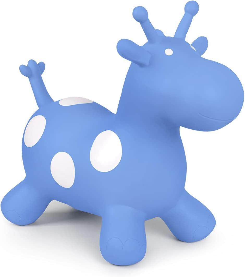 ROBUD Caballo saltador de jirafa, juguete para niños pequeños y niñas, a partir de 3 años hasta 50 kg, con bomba de aire (azul)