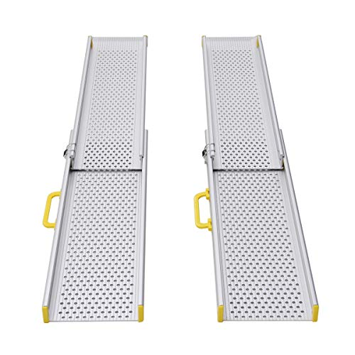 Ruedamann 8' Portable Aluminum Wheelchair Ramp,Telescoping Adjustable Non-Skid Ramp for Wheelchairs,Stairs,Vans, Steps, Holds Up to 600lbs(MR107-8)