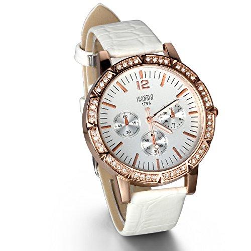 JewelryWe Damen Armbanduhr, Analog Quarz, Fashion Luxus Strass Uhr mit Leder Armband, Weiss