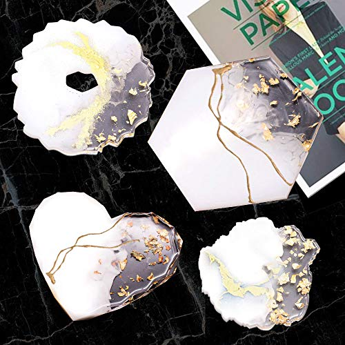 Resin Coaster Molds for Resin Casting Anezus 6 Pack Silicone Geode Coaster Molds with Gold Foil Flakes for Resin Coasters