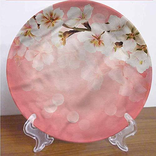 Channing Southey - Plato decorativo de cerámica de coral de 10 pulgadas, diseño de rama de Sakura en flor redonda de porcelana de cerámica para decoración de pared y oficina