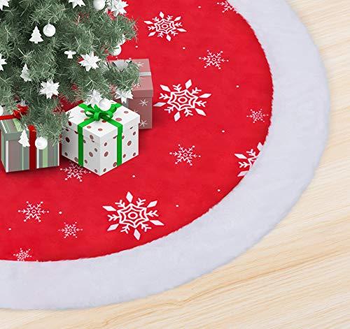 ABSOFINE Christmas Tree Skirt 90CM Soft Plush Tree Skirts Snow Cloth Skirt for Xmas Winter Theme Decorations, Red